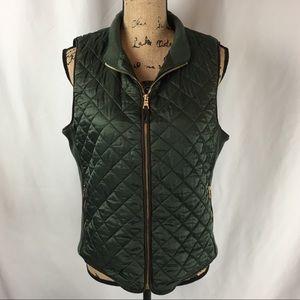 Rafaella Olive Green Puffy Quilted Zip Vest Sz L